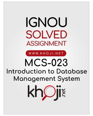MCS-023 Solved Assignment For IGNOU BCA MCA