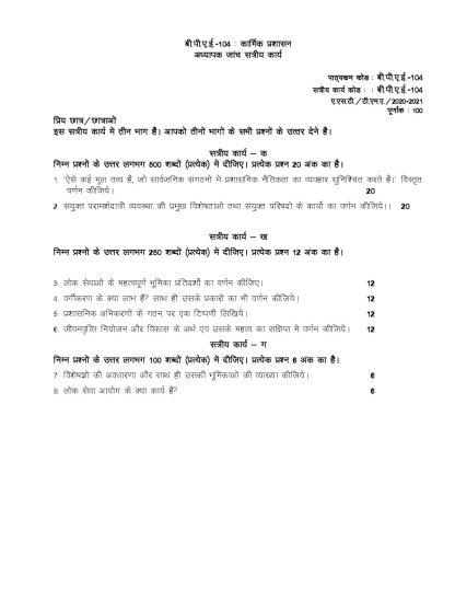 BPAE-104 Hindi Medium Assignment Questions 2020-2021