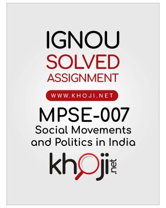 MPSE-007 Solved Assignment English Medium IGNOU MA Political Science