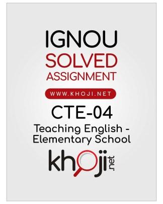 CTE-04 Solved Assignment English Medium IGNOU CTE