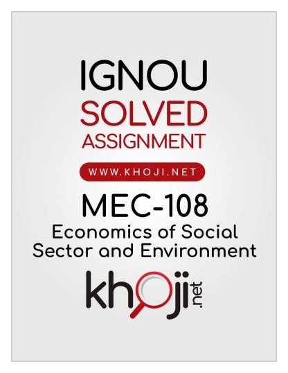 MEC-108 Solved Assignment English Medium IGNOU MA Economics MEC