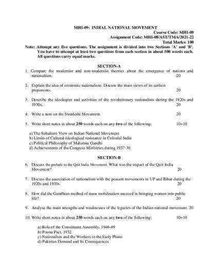 MHI-09 Assignment Question 2021-2022 English Medium