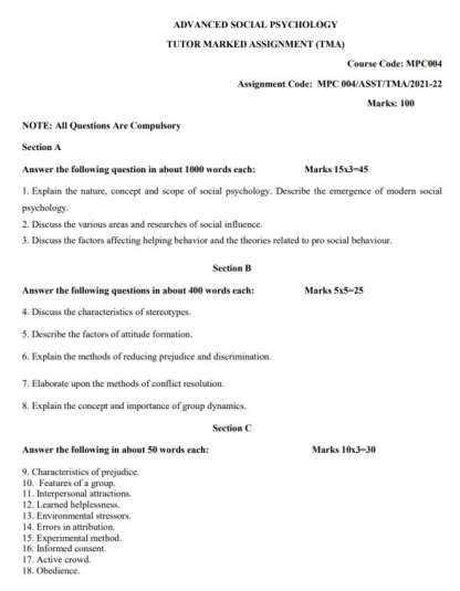 MPC-004 Assignment Questions 2021-2022