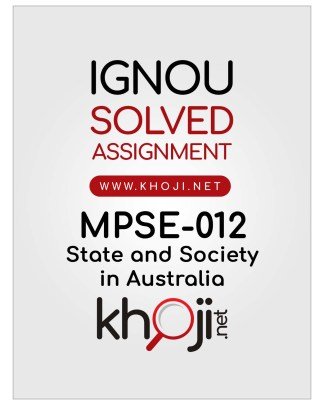MPSE-012 Solved Assignment in English Medium IGNOU MA Political Science