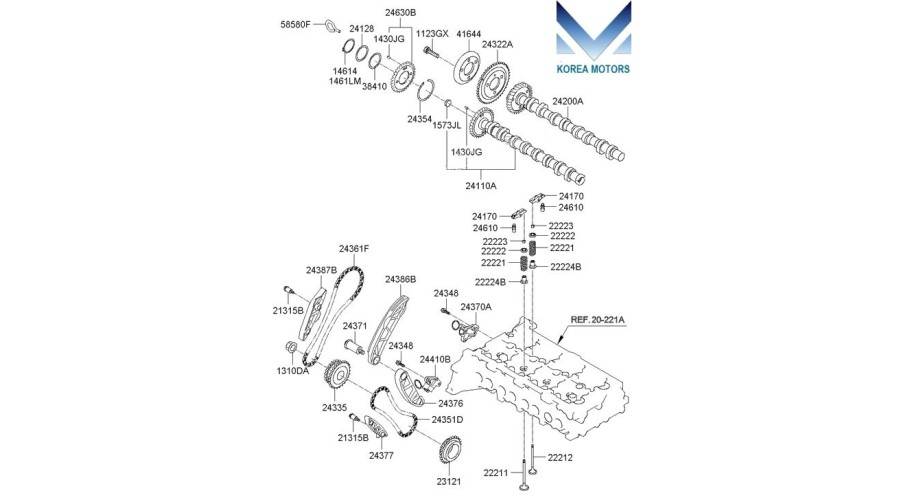 MOBIS TIMING CHAIN KIT FOR ENGINE D4HB FOR KIA / HYUNDAI
