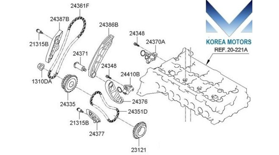 MOBIS TIMING CHAIN KIT FOR ENGINE D4HB FOR KIA / HYUNDAI