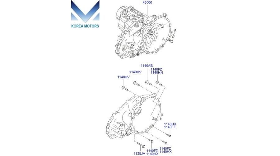 USED TRANSMISSION ASSY-MANUAL 5-MT FWD SET FOR ENGINE G4EC