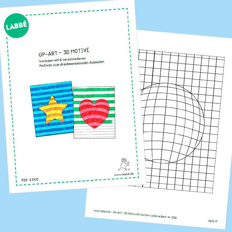 Op-Art - 3D Motive PDF - Für Laternen - Malvorlagen