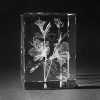 3D Natur Motive - 3D Blume Azalee in Glas gelasert - 3D ...
