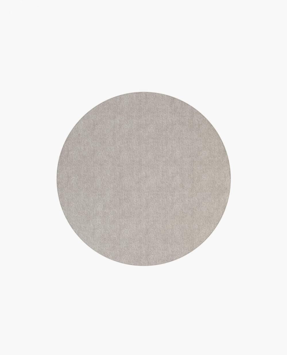 tapete circular em tecido bege escuro