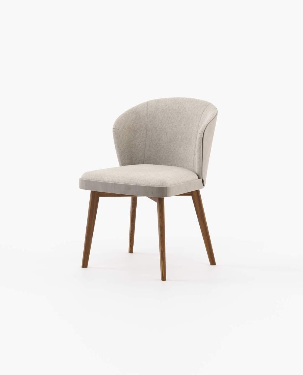 Cadeira Nelly em Tecido Alinhado Sand, Veludo Khaki, Nogueira
