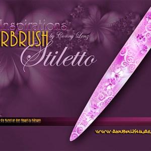 Nailart Airbrush Schablone LT5820, Stiletto XL, selbstklebend