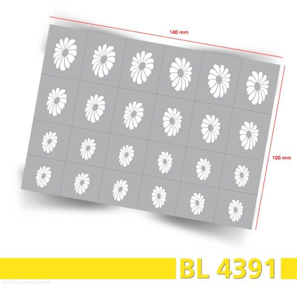Bogenansicht, 24 Nailart Airbrush Klebeschablonen Blumen BL4391, selbstklebend, Airbrushnailart
