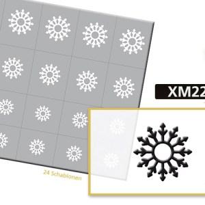 Klebeschablonen XM2219, Nailart Airbrush Schablonen Weihnachten, Winter, Schneeflocken, Eiskristall