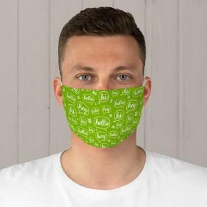 Green Hello Fabric Face Mask