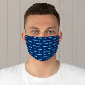 Blue and Teal Arrow Stripe Fabric Face Mask