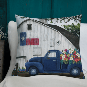 Texan Flower Farm Truck Pillowon sofa