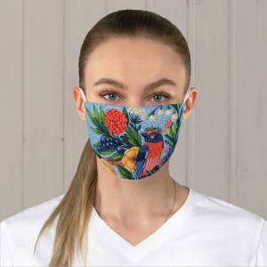 Coral Songbird Fabric Face Mask