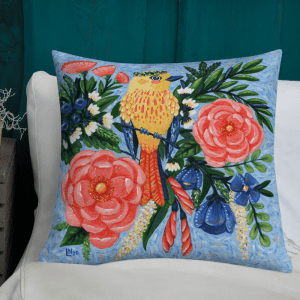 Yellow Warbler and Flowers Pillow