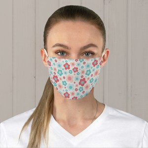 Blue and Pink Retro Flowers Fabric Face Mask