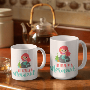two sizes of really a mermaid mugs