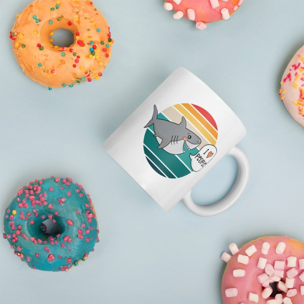 11oz I love people shark mug surrounded by donuts