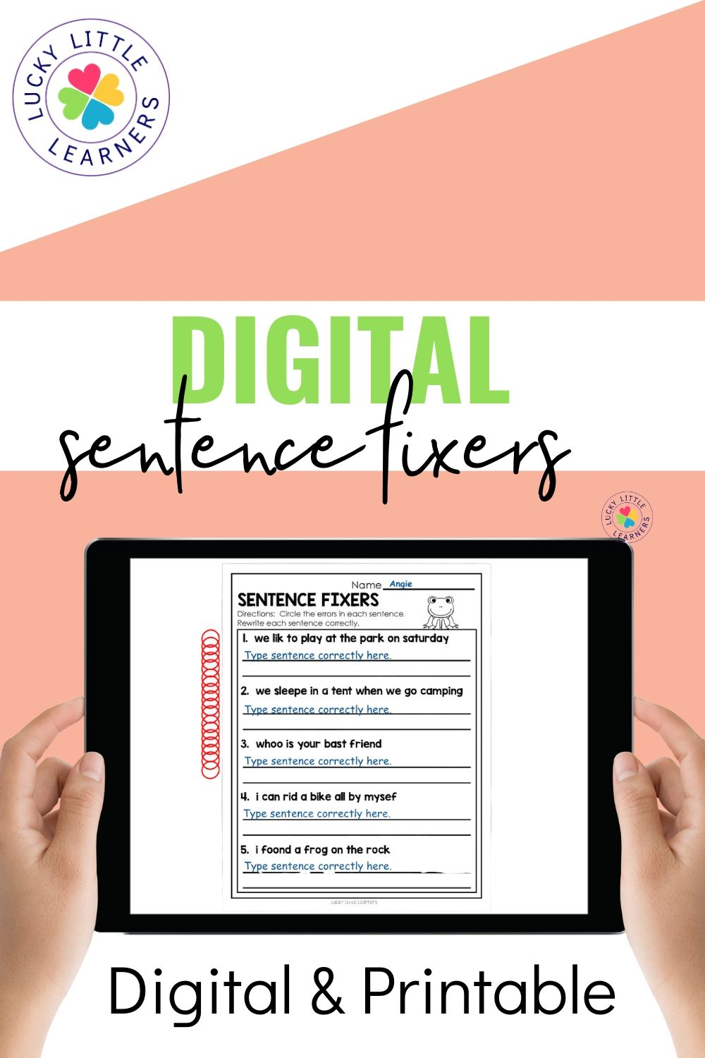hight resolution of Sentence Fixers - Lucky Little Learners