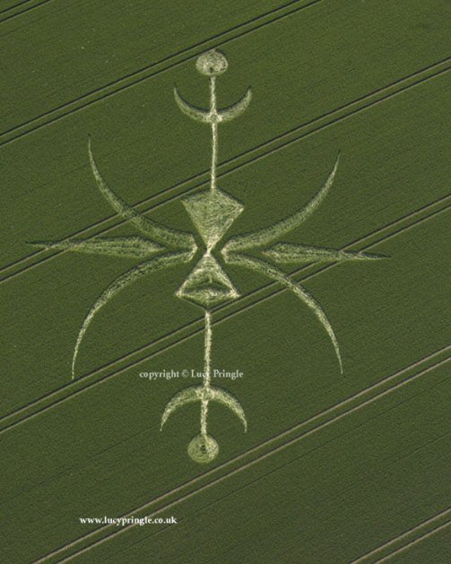 Newton Barrow, Nr Stoford, Wiltshire 15 June 2015 c 200 feet long. Wheat. A complex design of crescents, kites and small circles.
