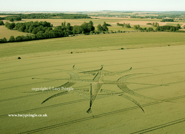 Nr Stonehenge, Wiltshire. 24th June 2015. Wheat. c.300ft (91m) diameter. A symmetrical cross with crescents (concave curve facing outwards) on each arm. Two opposing and outward pointing wing-shapes overlaying crescents, at both ends of one member of the cross.