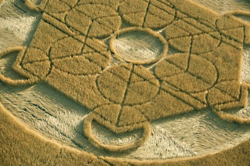Nursteed Farm, Nr Devizes, Wiltshire. 17th August 2016. Wheat. c.180ft (55m) Hexagon-based design within a circle. Circles at each point of the hexagon and within.