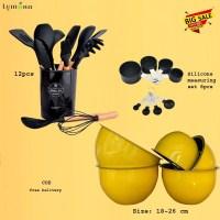 Yellow Mixing Bowl Set 5pcs with Black Spatulas Set 12pcs with Silicone measuring set 8pcs