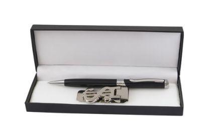 Бизнес комплект с метална химикалка и щипка за пари