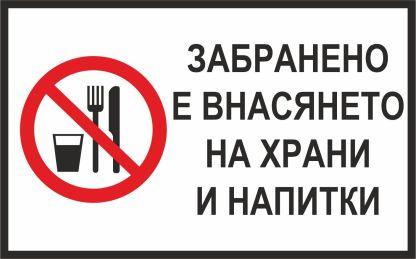 Забранено внасянето на храни и напитки - Знак