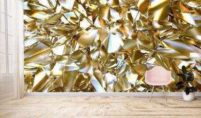 Златно отражение - Макет на всекидневна стая с фототапета