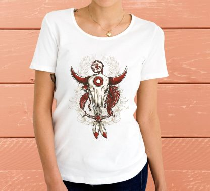 Индиански биволски череп - Дамска тениска
