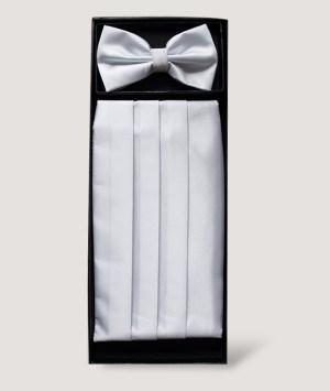Ensemble nœud papillon et d'une ceinture smoking plissée en satin blanc