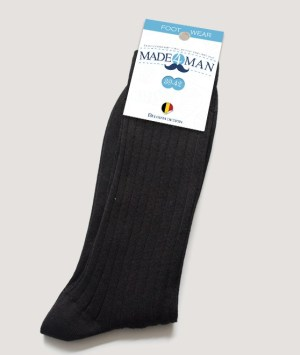 Chaussettes fil d'écosse noir côtelé