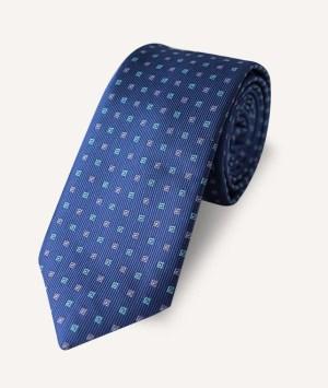 Cravate Petits carrés turquoises et roses sur bleu foncé