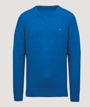 Pullover premium col V - Mykonos blue