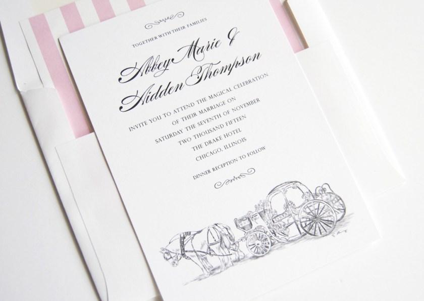 Disney Cinderella S Carriage Fairytale Wedding Invitations