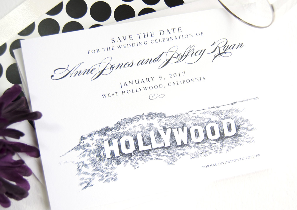Hollywood Sign Skyline Save the Date Cards