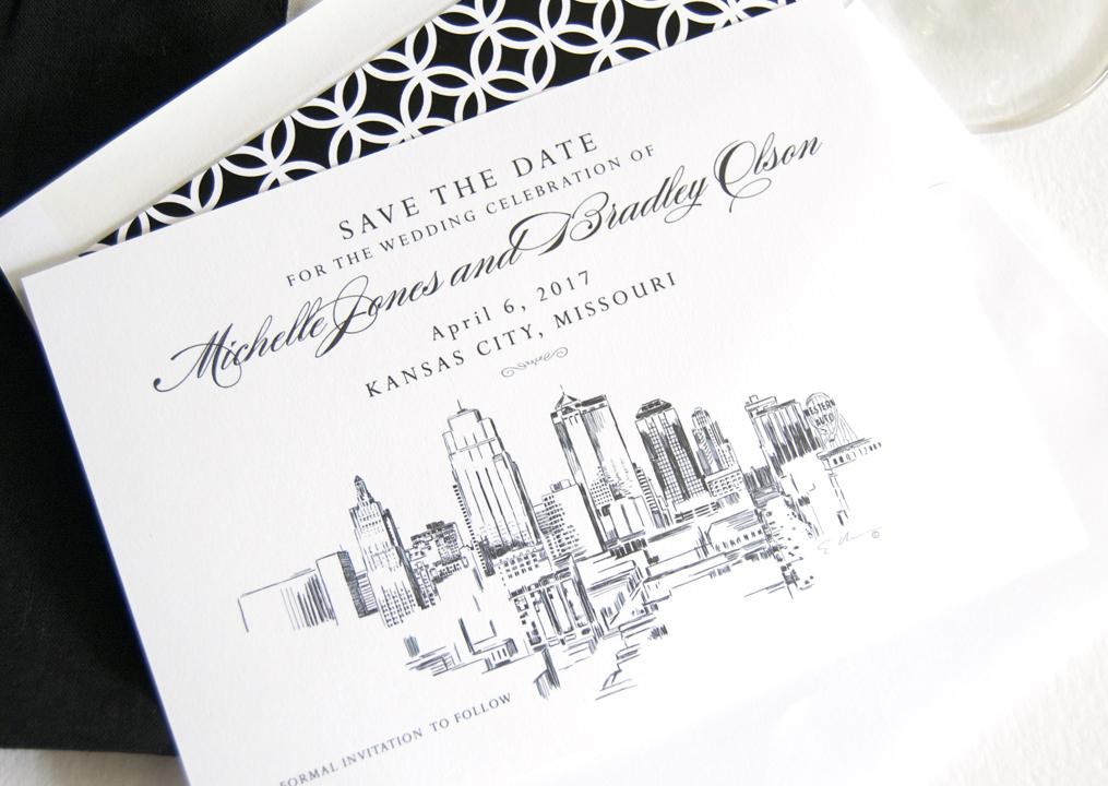 Kansas City Skyline Save the Date Cards