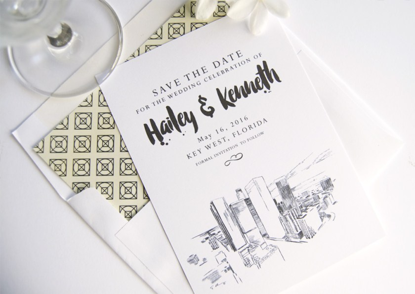 Los Angeles Skyline Save The Date Cards