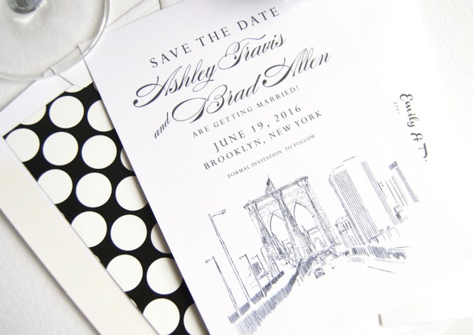 Brooklyn Bridge New York Skyline Hand Drawn Save The Date Cards