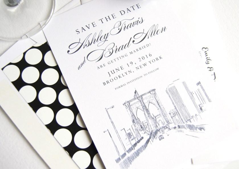 Brooklyn Bridge New York Skyline Save The Date Cards
