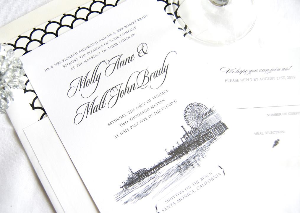 Santa Monica Pier Skyline Wedding Invitations