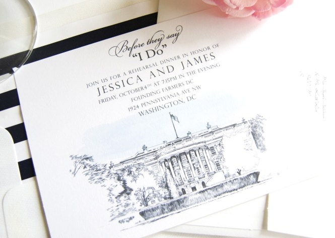 Washington Dc White House Rehearsal Dinner Invitations
