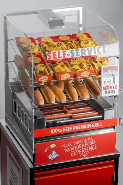 Découvrez notre Machine Hot Dog Maxi Grill Cart, un système de cuisson 2 en 1, visibilité maximale pour un corner snacking grande capacité !