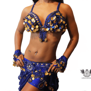 BELLY DANCE COSTUME BLUE AND GOLD close body
