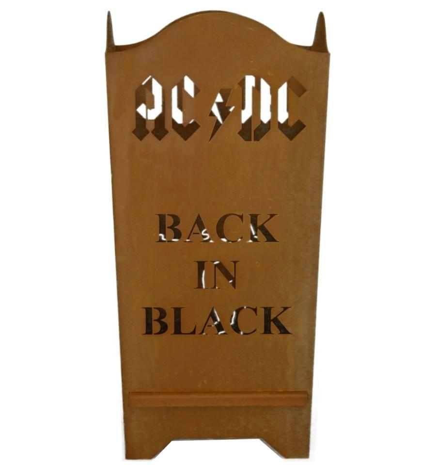 Edelrost FEUERKORB ACDC  BACK IN BLACK ECKIG 67 cm hoch